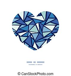 Vector abstract ice chrystals heart silhouette pattern frame...