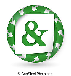 vector abstract icon with arrows and ampersand