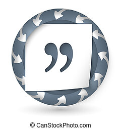 vector abstract icon with arrows and quotation mark