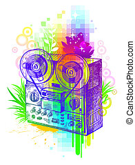 Vector abstract illustration - Hand drawn tape recorder