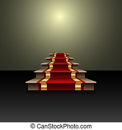 Vector abstract illustration of red carpet on the staircase