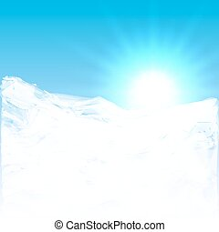 Vector abstract illustration of sun shining above the clouds