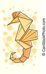 Vector abstract illustration sea horse.
