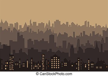 Vector abstract illustration silhouettes of city buildings in sepia