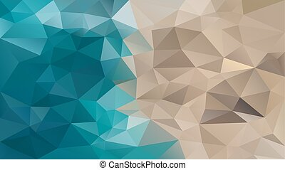 vector abstract irregular polygon background - triangle low poly pattern - teal ocean blue and sand beige color