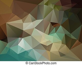 vector abstract irregular polygon background with a triangle pattern in brown, beige, khaki, blue, turquoise, green color