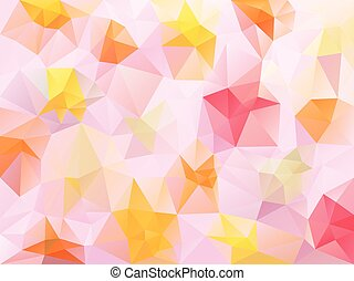 vector abstract irregular polygon background with a triangle pattern in sweet pink, red, yellow and orange color