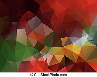 vector abstract irregular polygon background with a triangle pattern in vibrant red, green, yellow and orange color