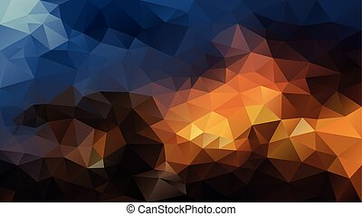 vector abstract irregular polygonal background - triangle low poly pattern - dark warm colors - brown, orange, blue and indigo