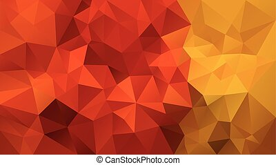 vector abstract irregular polygonal background - triangle low poly pattern - fall autumn red orange and yellow color