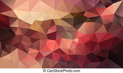 vector abstract irregular polygonal background - triangle low poly pattern - warm colors - strawberry red, brown, orange, peach, beige, maroon, mohogany, old pink, purple, brown