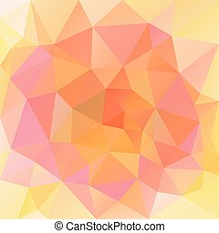 vector abstract irregular polygonal square background - triangle low poly pattern - cute pink yellow peach orange color