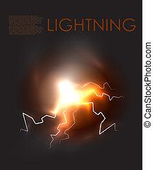 Vector abstract lighning background - Lightning bolt energy...