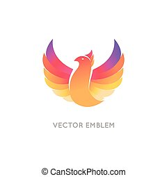 Vector abstract logo design template in bright gradient...