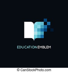 Vector abstract logo design template - online education and ...