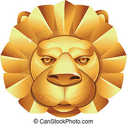 vector abstract logo - metal lion's head
