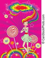 vector abstract lollipop girl