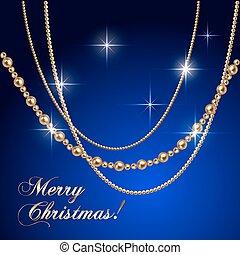 vector, abstract, luxe, kerstmis, begroetende kaart, met, juwelen