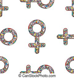 Vector abstract male and female gender signs pattern. Hand drawn sexual identity symbols seamless texture.