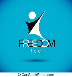 Vector abstract  man with raised reaching up. Corporate leader metaphor illustration. Freedom creative logo, symbol.