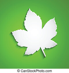 Vector abstract maple leaf on green background
