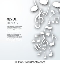 Vector abstract Music notes with shadows. On white isolated background. Musical concept