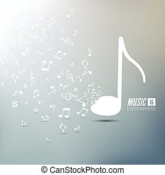 Vector abstract musical background with musical notes