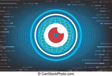 vector, abstract, oogappel, toekomst, technologie, achtergrond, met, rood oog, ertussen, concept, achtergrond