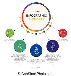 vector, abstract, opties, infographic, vijf, cirkel, beeld, communie