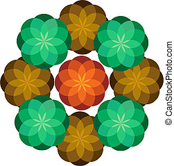 Vector Abstract Ornament made of flowers
