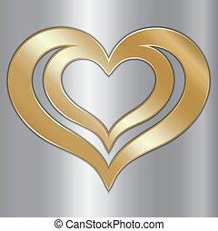 vector, abstract, paar, van, gouden, hartjes, op, zilver, achtergrond