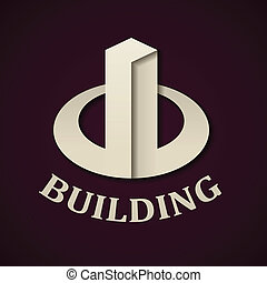 vector abstract paper building icon