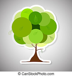 Vector Abstract Paper Green Tree Illustration