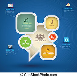 Vector abstract paper infographics. can be used for workflow layout, diagram, options, web design, business people icons.