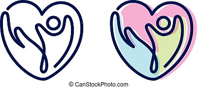 Vector abstract people and hand shaped love icon symbol with bold outline. People in abstract shape. Vector illustration EPS.8 EPS.10