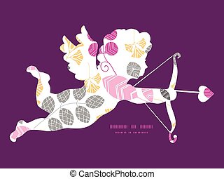 Vector abstract pink, yellow and gray leaves shooting cupid silhouette frame pattern invitation greeting card template