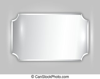Vector abstract precious metal silver award plate with...