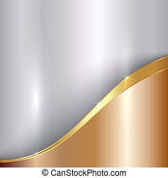 Vector abstract precious metallic background with curve -...