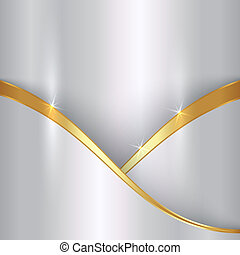 Vector abstract precious white color metal background with curve and gold border