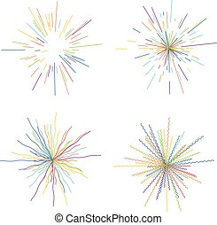 vector abstract radial bursts. colorful star explosion