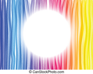 Abstract Rainbow Lines Background with White Circle - Vector...