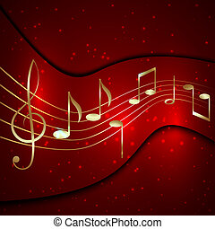 Vector abstract red musical background with golden notes...