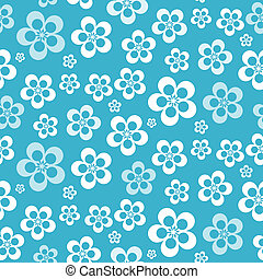 Vector Abstract Retro Seamless Blue Flower Pattern - Background