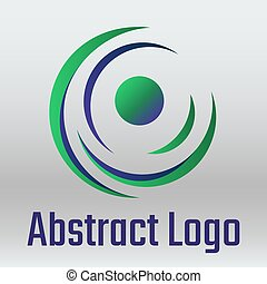 Vector abstract round logo on grey background