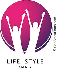 Vector abstract round symbol with two human silhouettes. Sport, fitness, medical or health care center logo design. Icon of life style.