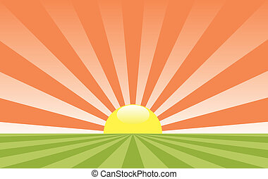 vector abstract rural landscape with rising sun