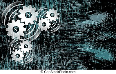 Vector abstract scratched background and cogwheels