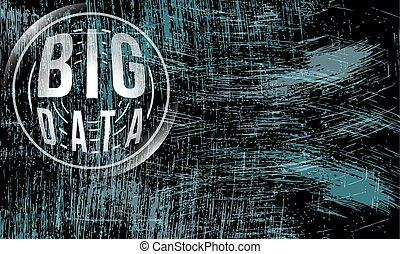 Vector abstract scratched background and big data icon