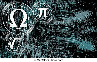 Vector abstract scratched background and math symbols