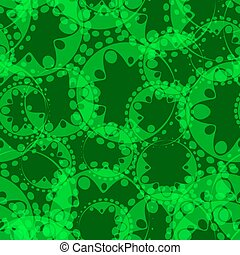 Vector abstract seamless gentle pattern of green tentacles and bubbles on a light green background for tissue or paper.